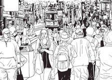 Άνθρωποι πλήθους οδών που περπατούν από την οδό πόλεων Στοκ φωτογραφία με δικαίωμα ελεύθερης χρήσης
