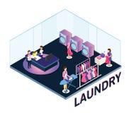 Άνθρωποι σε ένα πλυντήριο που λειτουργεί γύρω από το Isometric έργο τέχνης διανυσματική απεικόνιση