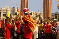 Άνθρωποι σε μια διαδήλωση διαμαρτυρίας στην Καταλωνία Στοκ Εικόνες