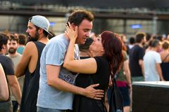 Άνθρωποι σε μια συναυλία Download στο φεστιβάλ μουσικής βαρύ μετάλλου στοκ εικόνες