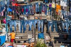 Άνθρωποι σε Dhobi Ghat Στοκ Φωτογραφίες