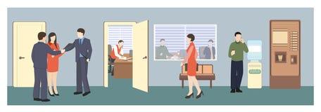 Άνθρωποι στην αίθουσα τρισδιάστατο λευκό γραφείων ζωής εικόνας ανασκόπησης διανυσματική απεικόνιση