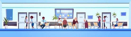 Άνθρωποι στην ομάδα ασθενών και γιατρών αιθουσών νοσοκομείων στο οριζόντιο έμβλημα αίθουσας αναμονής κλινικών διανυσματική απεικόνιση