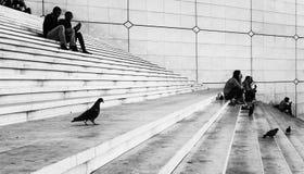 Άνθρωποι στην υπεράσπιση Παρίσι Λα Στοκ Εικόνα