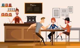 Άνθρωποι στη σύγχρονη καφετερία ή καφές εσωτερική επίπεδη διανυσματική απεικόνιση εργασιακών χώρων κεντρικών πανεπιστημιουπόλεων  Στοκ φωτογραφίες με δικαίωμα ελεύθερης χρήσης