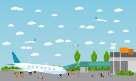 Άνθρωποι στον αερολιμένα, επίπεδο σύνολο Στοκ εικόνες με δικαίωμα ελεύθερης χρήσης