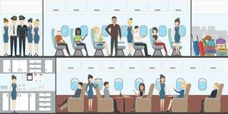 Άνθρωποι στο αεροπλάνο Τα αεροσκάφη μεταφέρουν το εσωτερικό Στοκ Εικόνα