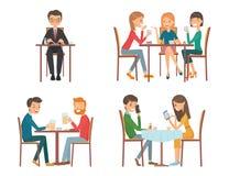 Άνθρωποι στο εστιατόριο διανυσματική απεικόνιση
