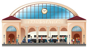 Άνθρωποι στο σταθμό τρένου διανυσματική απεικόνιση
