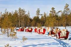 Άνθρωποι στο τροχόσπιτο ελκήθρων ταράνδων στο χειμερινό δάσος στο Ροβανιέμι Στοκ φωτογραφίες με δικαίωμα ελεύθερης χρήσης