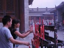 Άνθρωποι στο tample στην Κίνα Στοκ Φωτογραφίες