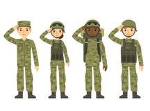 Άνθρωποι στρατού κινούμενων σχεδίων ελεύθερη απεικόνιση δικαιώματος