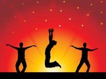 Άνθρωποι συμβαλλόμενου μέρους με τα ζωηρόχρωμα φω'τα - χορός Στοκ εικόνα με δικαίωμα ελεύθερης χρήσης