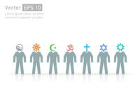 Άνθρωποι των διαφορετικών θρησκειών Διανυσματικοί σύμβολα και χαρακτήρες θρησκείας φιλία και ειρήνη για τις διαφορετικές θρησκείε Στοκ Φωτογραφία