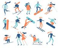 Άνθρωποι χειμερινού αθλητισμού Αθλητικός τύπος στο σνόουμπορντ, τα σκι ή τα σαλάχια πάγου Ο αθλητισμός Snowboarding, να κάνει σκι απεικόνιση αποθεμάτων