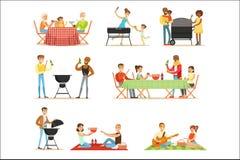 Άνθρωποι BBQ στο πικ-νίκ που τρώει και που μαγειρεύει υπαίθρια το ψημένο στη σχάρα κρέας στο ηλεκτρικό σύνολο σχαρών σχαρών σκηνώ διανυσματική απεικόνιση