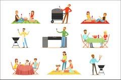 Άνθρωποι BBQ στο πικ-νίκ που τρώει και που μαγειρεύει υπαίθρια το ψημένο στη σχάρα κρέας στην ηλεκτρική συλλογή σχαρών σχαρών των ελεύθερη απεικόνιση δικαιώματος
