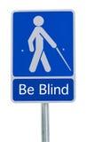 Άνθρωποι Beware που διασχίζουν το σημάδι τυφλό Στοκ Φωτογραφία