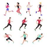 Άνθρωποι Jogging και τρεξίματος Δρομείς στην κίνηση Τρέχοντας αθλητισμός ατόμων απεικόνιση αποθεμάτων