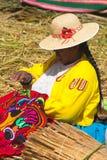 Άνθρωποι Uros, επιπλέον νησί, Περού στοκ εικόνες με δικαίωμα ελεύθερης χρήσης