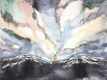 Άνθρωπος και δύναμη κόσμου, ζωγραφική watercolor, περίληψη έμπνευσης, παγκόσμιος κόσμος μέσα στο μυαλό σας απεικόνιση αποθεμάτων