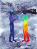 Άνθρωπος και δύναμη κόσμου, ζωγραφική watercolor, reiki chakra, παγκόσμιος κόσμος μέσα στο μυαλό σας διανυσματική απεικόνιση