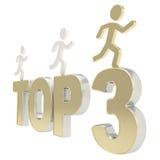 Άνθρωπος που τρέχει τους συμβολικούς αριθμούς πέρα από την κορυφή τρία λέξεων Στοκ Εικόνες