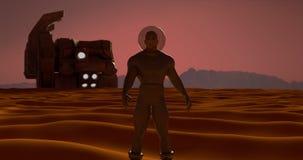 Άνθρωπος στον Άρη που ψάχνει το νερό που πίνει Στοκ Εικόνες