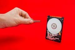 Άνοιγμα και αποκρυπτογράφηση μιας κίνησης αποθήκευσης σκληρών δίσκων με το κλειδί πληροφοριών στοκ φωτογραφία με δικαίωμα ελεύθερης χρήσης