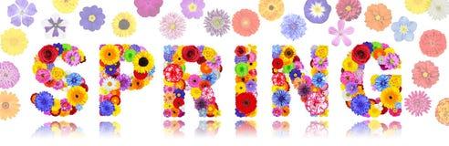 Άνοιξη λέξης φιαγμένη ζωηρόχρωμα λουλούδια που απομονώνονται από Στοκ Εικόνα
