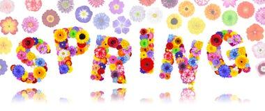Άνοιξη λέξης φιαγμένη ζωηρόχρωμα λουλούδια που απομονώνονται από Στοκ φωτογραφία με δικαίωμα ελεύθερης χρήσης
