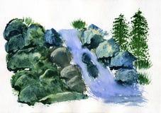 Άνοιξη βουνών ζωγραφικής Watercolor Στοκ Εικόνες