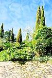 Άνοιξη ιταλικό τοπίο Stylization Watercolor ελεύθερη απεικόνιση δικαιώματος