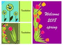 3 άνοιξη 2018 καρτών πρόσκλησης διανυσματική απεικόνιση