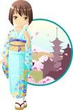 άνοιξη κιμονό κοριτσιών Στοκ Εικόνα