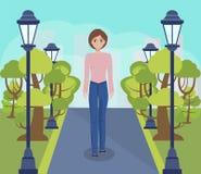 Άνοιξη κινούμενων σχεδίων ή πανόραμα θερινών πάρκων ελεύθερη απεικόνιση δικαιώματος