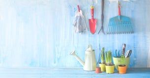 Άνοιξη που καλλιεργεί, νέα εργαλεία κηπουρικής λουλουδιών, καλή σπόλα Στοκ εικόνες με δικαίωμα ελεύθερης χρήσης