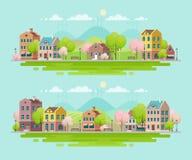 Άνοιξη στη μικρή πόλη landscape urban Στοκ Εικόνες