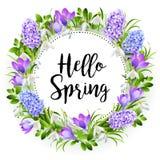 Άνοιξη στο υπόβαθρο με τα λουλούδια άνοιξη διάνυσμα Στοκ εικόνες με δικαίωμα ελεύθερης χρήσης