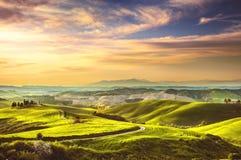 Άνοιξη της Τοσκάνης, κυλώντας λόφοι στο ηλιοβασίλεμα τοπίο αγροτικό Πράσινος Στοκ Φωτογραφίες