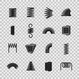 Άνοιξη χάλυβα Σπειροειδής μορφή ελατηρίων χαλύβδινων συρμάτων σπειρών εύκαμπτη Απορροφώντας διανυσματικά εικονίδια γραμμών εξοπλι ελεύθερη απεικόνιση δικαιώματος