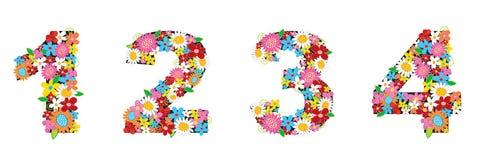 άνοιξη 1234 αριθμών λουλουδ& Στοκ Εικόνες