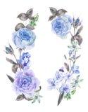 Άνοιξη Watercolor γύρω από το στεφάνι με τα μπλε τριαντάφυλλα Στοκ φωτογραφία με δικαίωμα ελεύθερης χρήσης