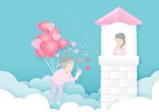 άνδρας αγάπης φιλιών έννοιας στη γυναίκα Νεαρός άνδρας με διαμορφωμένο το καρδιά πέταγμα μπαλονιών απεικόνιση αποθεμάτων