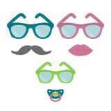 Άνδρας, γυναίκα, και παιδί στα γυαλιά Οικογένεια στα γυαλιά ηλίου Moustache, χείλι, θηλή διανυσματική απεικόνιση