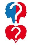 Άνδρας και γυναίκα με το ερωτηματικό, διάνυσμα Στοκ Φωτογραφία