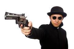 Άνδρας με το πυροβόλο όπλο που απομονώνεται νεαρός στο λευκό Στοκ Εικόνες