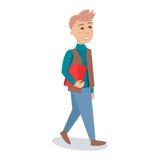 Άνδρας σπουδαστής που περπατά με την κόκκινη διανυσματική απεικόνιση χαρακτήρα κινουμένων σχεδίων βιβλίων Στοκ Εικόνες