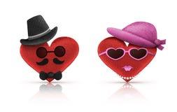 Άνδρας χαρακτήρα αγάπης καρδιών και γυναίκα, έννοια βαλεντίνων Στοκ Εικόνα