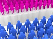 Άνδρες και γυναίκες που χωρίζονται στις πλευρές, ρωγμή χωρισμού. διανυσματική απεικόνιση